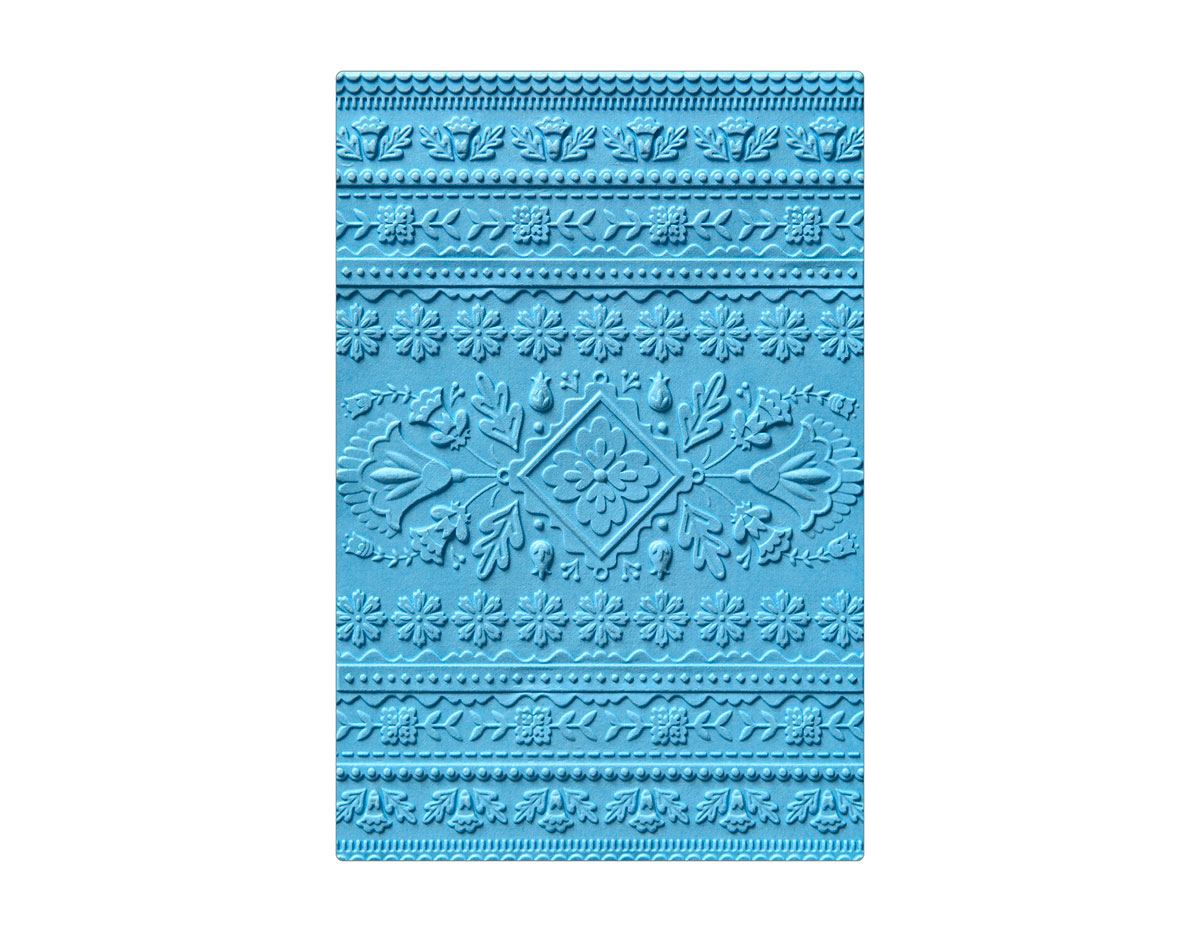 E663613 Placa de textura 3D TEXTURED IMPRESSIONS Folk art pattern by Courtney Chilson Sizzix