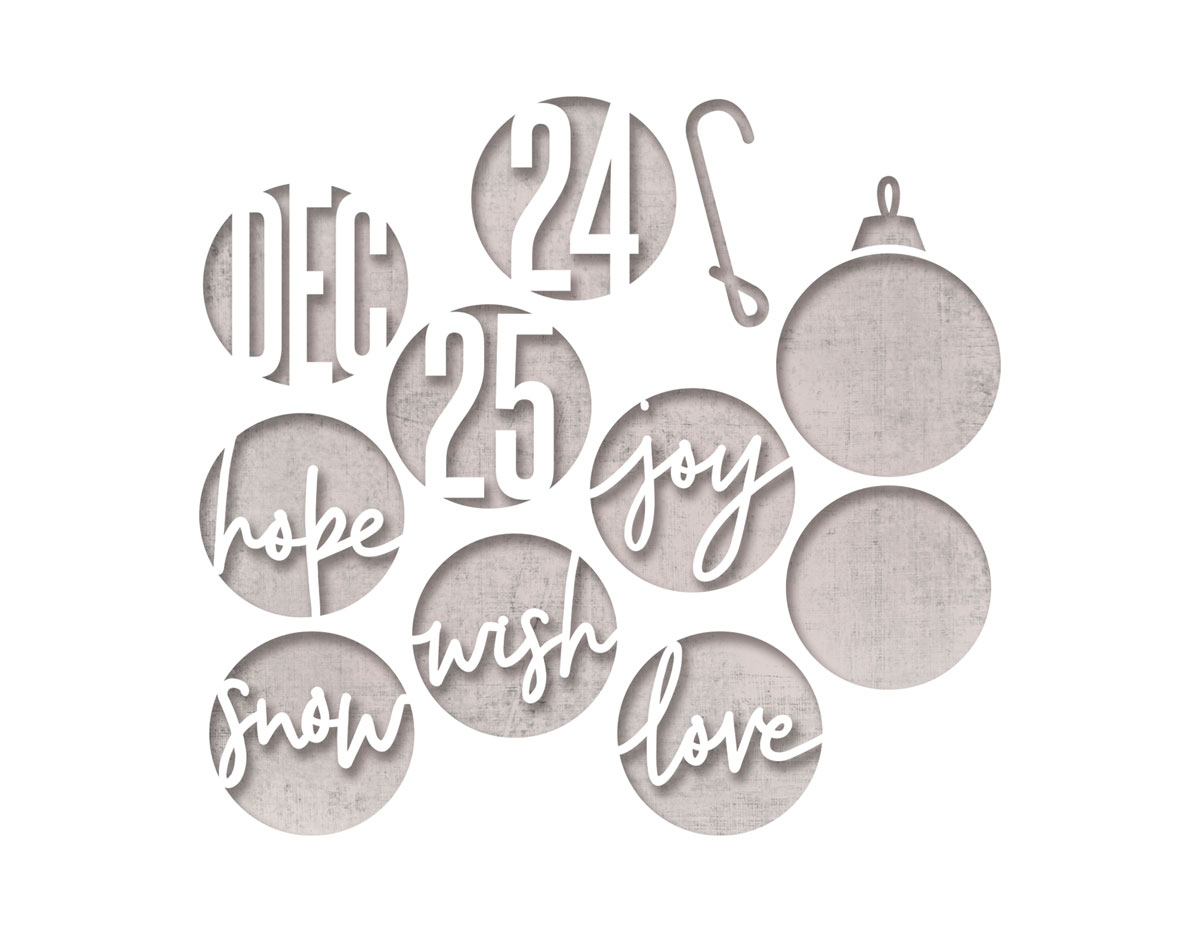 E664205 Set 12 troqueles THINLITS Circle words Christmas by Tim Holtz Sizzix