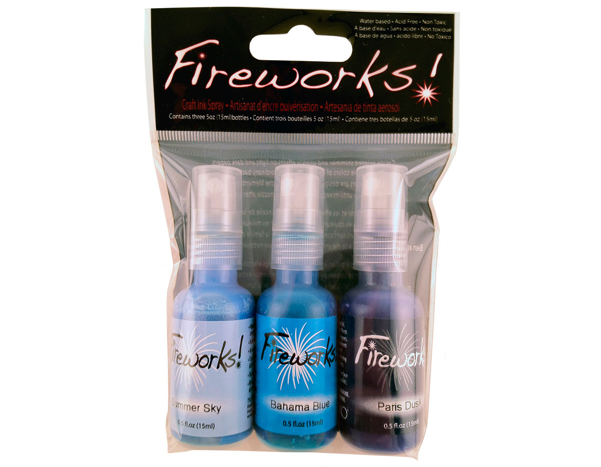 FW-003-004 Set 3 sprays de tinta brillante oceano Fireworks!