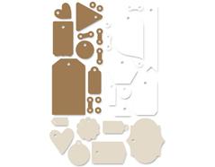 HIL-5095 Set etiquetas de cartulina y vitela y cordones HILLSIDE Basic Grey