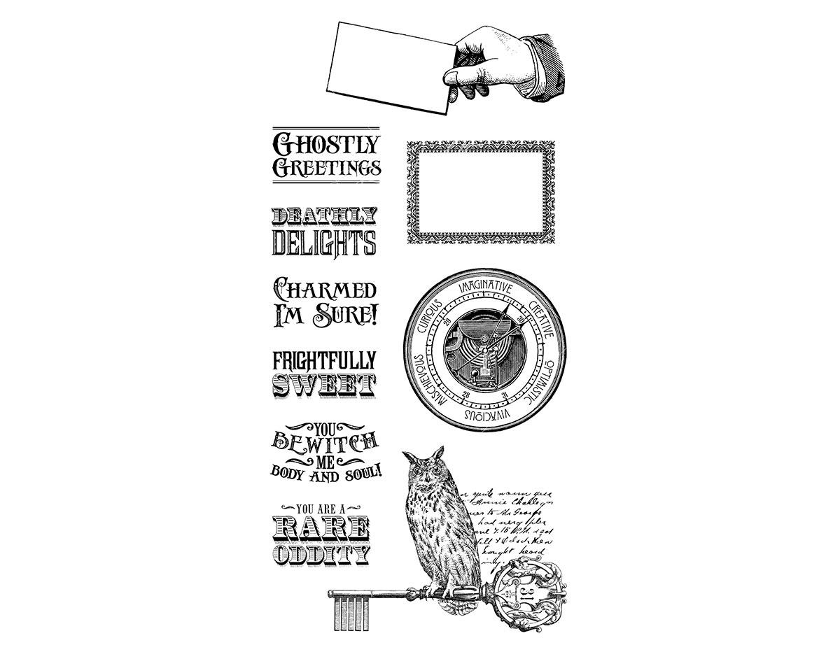 IC0336 Set 10 sellos de caucho n 2 RARE ODDITIES en bolsa de 10x20cm Graphic45