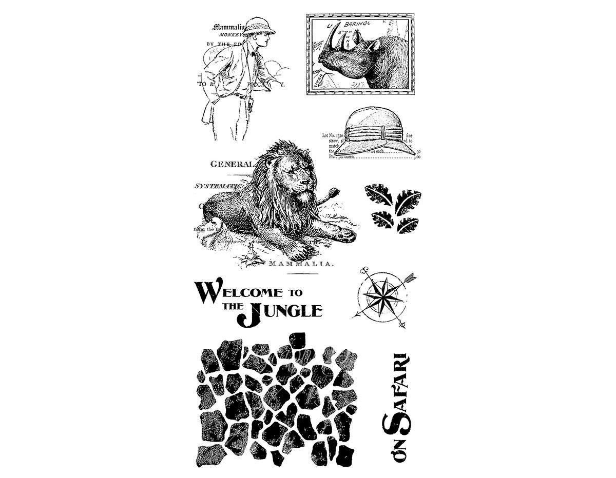 IC0364 Set 9 sellos de caucho n 3 SAFARI ADVENTURE Graphic45