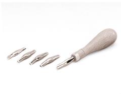 K15100 Set de 5 gubias cuchillas con mango de madera y punzon Hobby line