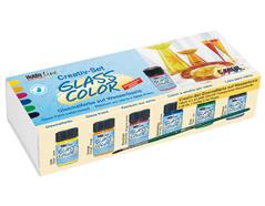 K42400 Set 6 botes pintura GLASS COLOR creativo Hobby line