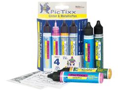 K49891 Set 4 aplicadores PICTIXX GLITTER METALLIC PEN Chispeante y metalico Hobby line
