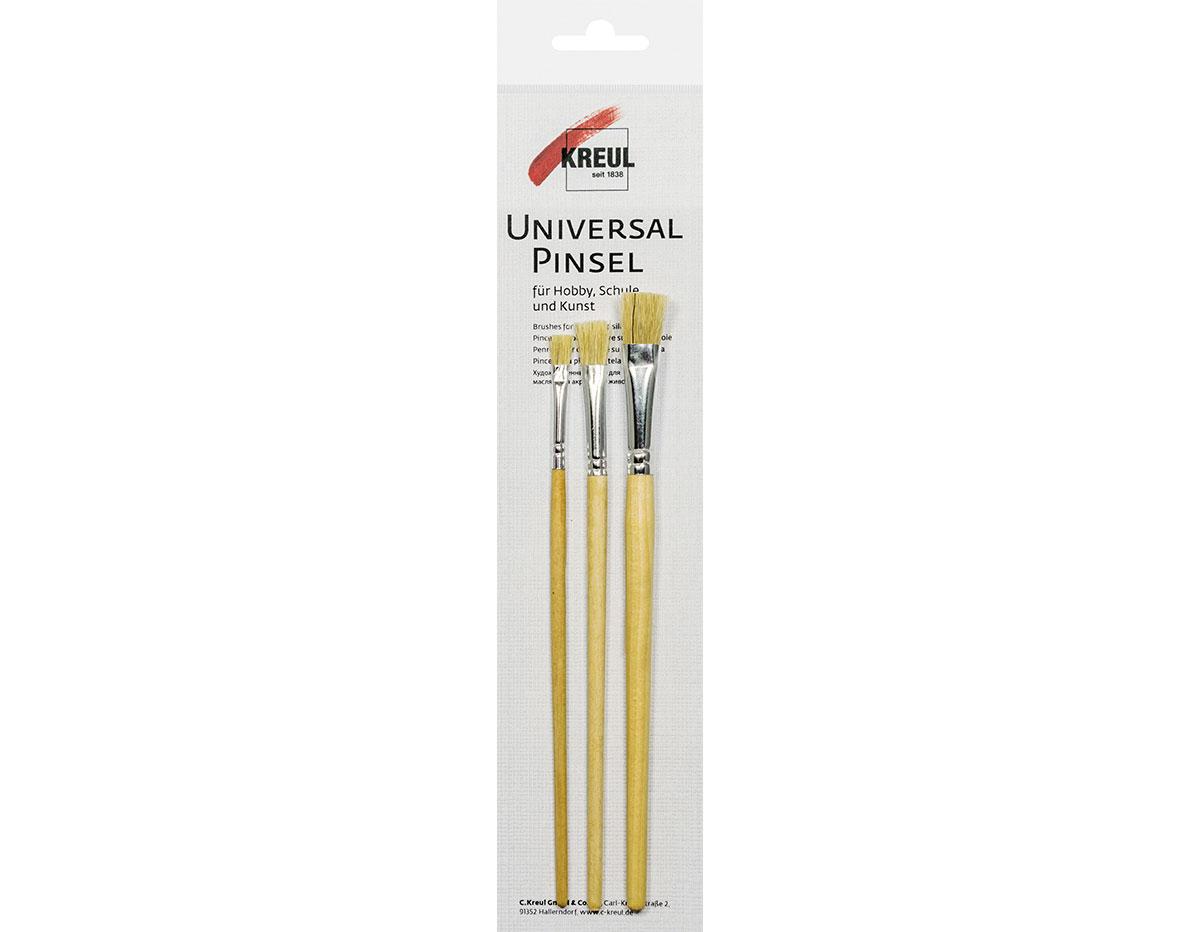 K723002 Set 3 pinceles cerda planos para escuela Hobby line