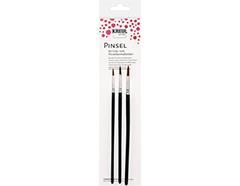 K723003 Set 3 pinceles pelo de poni redondos para escuela Hobby line
