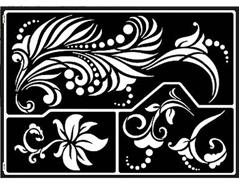 K74802 Plantilla autoadhesiva fantasticas flores Home design
