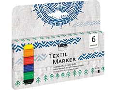 K90690 Set 6 rotuladores para textil translucidos punta bala Javana tex