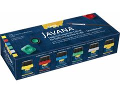K92250 Set 6 botes pintura para textil efecto purpurina Javana tex
