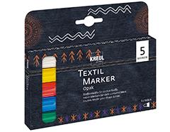 K92750 Set 5 rotuladores para textil opacos punta bala Javana tex