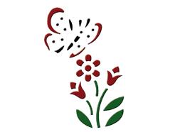 KB13018 Plantilla efecto 3D flor y mariposa Home design