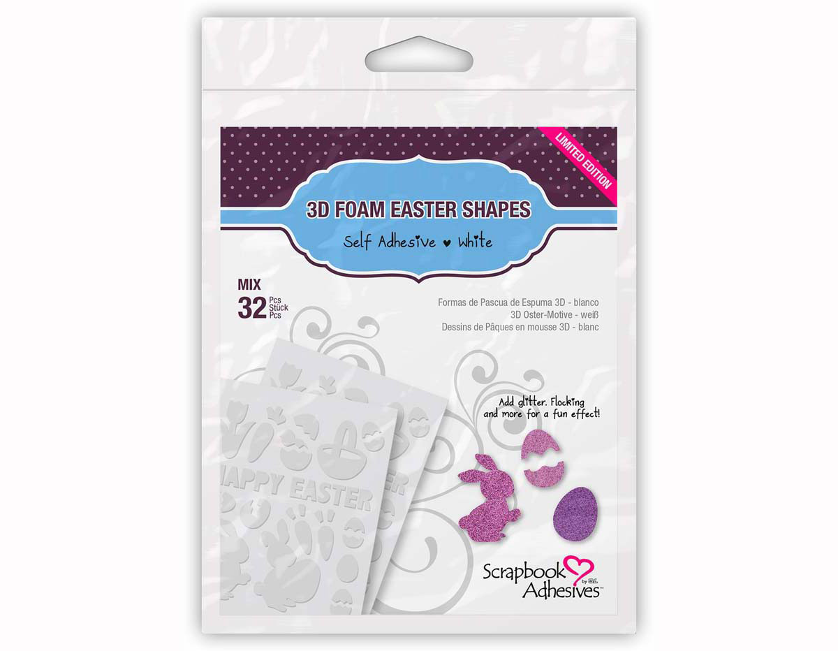 L01220 Adhesivo espuma 3D formas de pascua blanco Scrapbook Adhesives by 3L