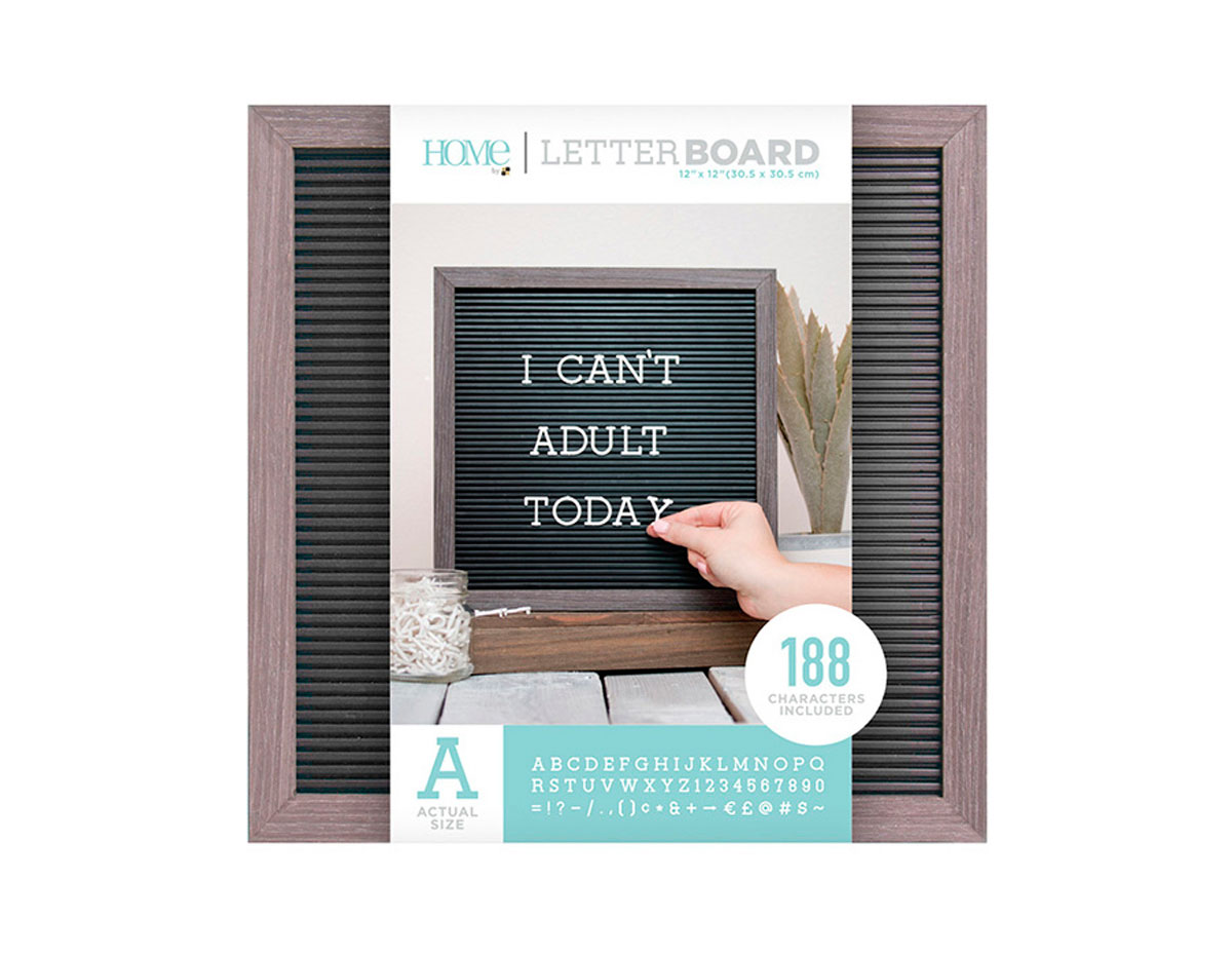 LB-006-00001 Tablero con 188 letras marco gris Letter Board Gray Frame DCWV