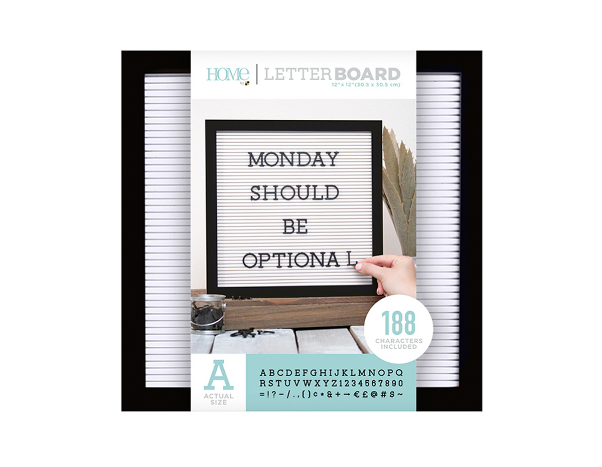 LB-006-00003 Tablero con 188 letras marco negro Letter Board Black Frame DCWV