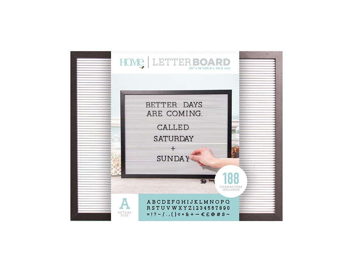 LB-006-00023 Tablero con 188 letras marco negro Letter Board Black Frame DCWV