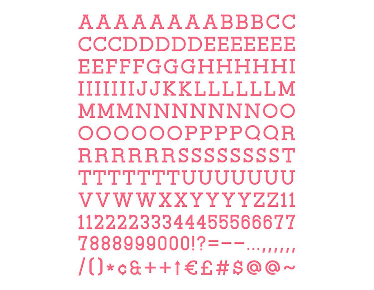 LP-006-00005 Set 188 letras Letter Pack Coral para Letter Board DCWV
