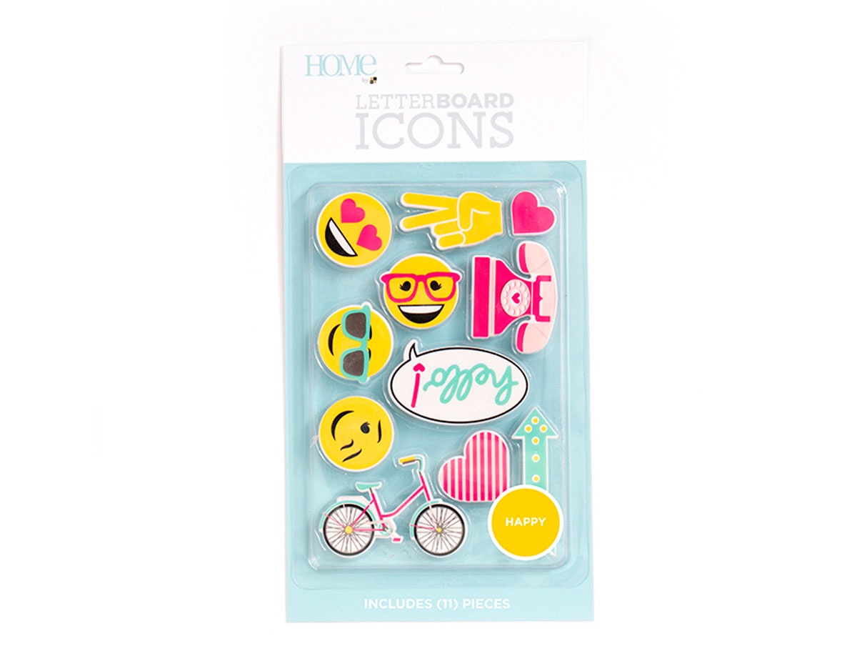 LP-006-00034 Set 11 iconos Icon Pack Happy para Letter Board DCWV
