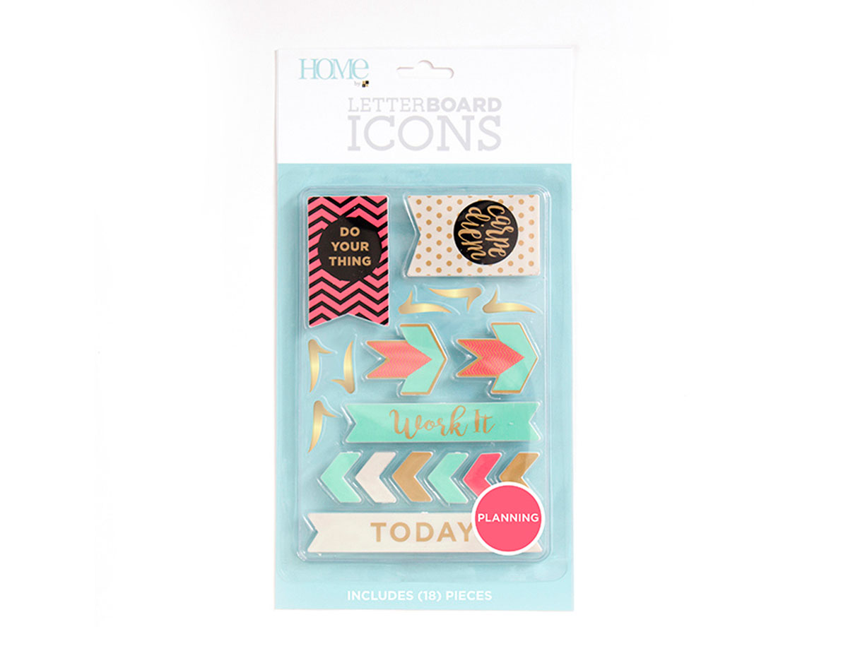LP-006-00037 Set 18 iconos Icon Pack Planning para Letter Board DCWV
