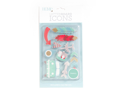 LP-006-00040 Set 14 iconos Icon Pack Travel para Letter Board DCWV