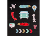LP-006-00040 Set 14 iconos Icon Pack Travel para Letter Board DCWV - Ítem2