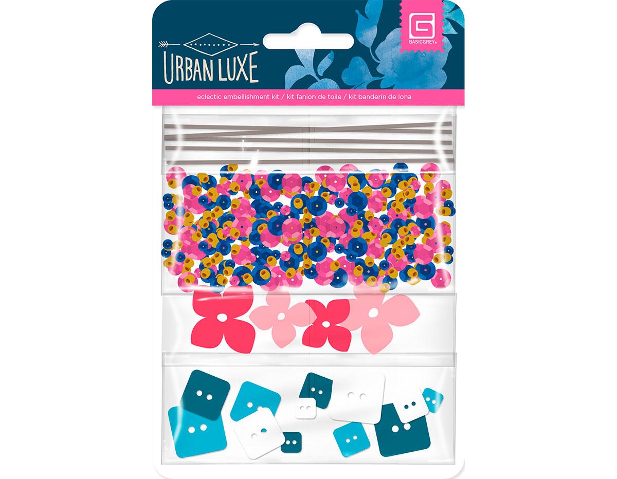LUX-5040 Adornos surtidos hilo lentejuelas flores carton y botones acrilicos URBAN LUXE Basic Grey
