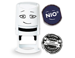 NI0001 Base de sello NIO con cupon y almohadilla de tinta color Noble Blue NIO
