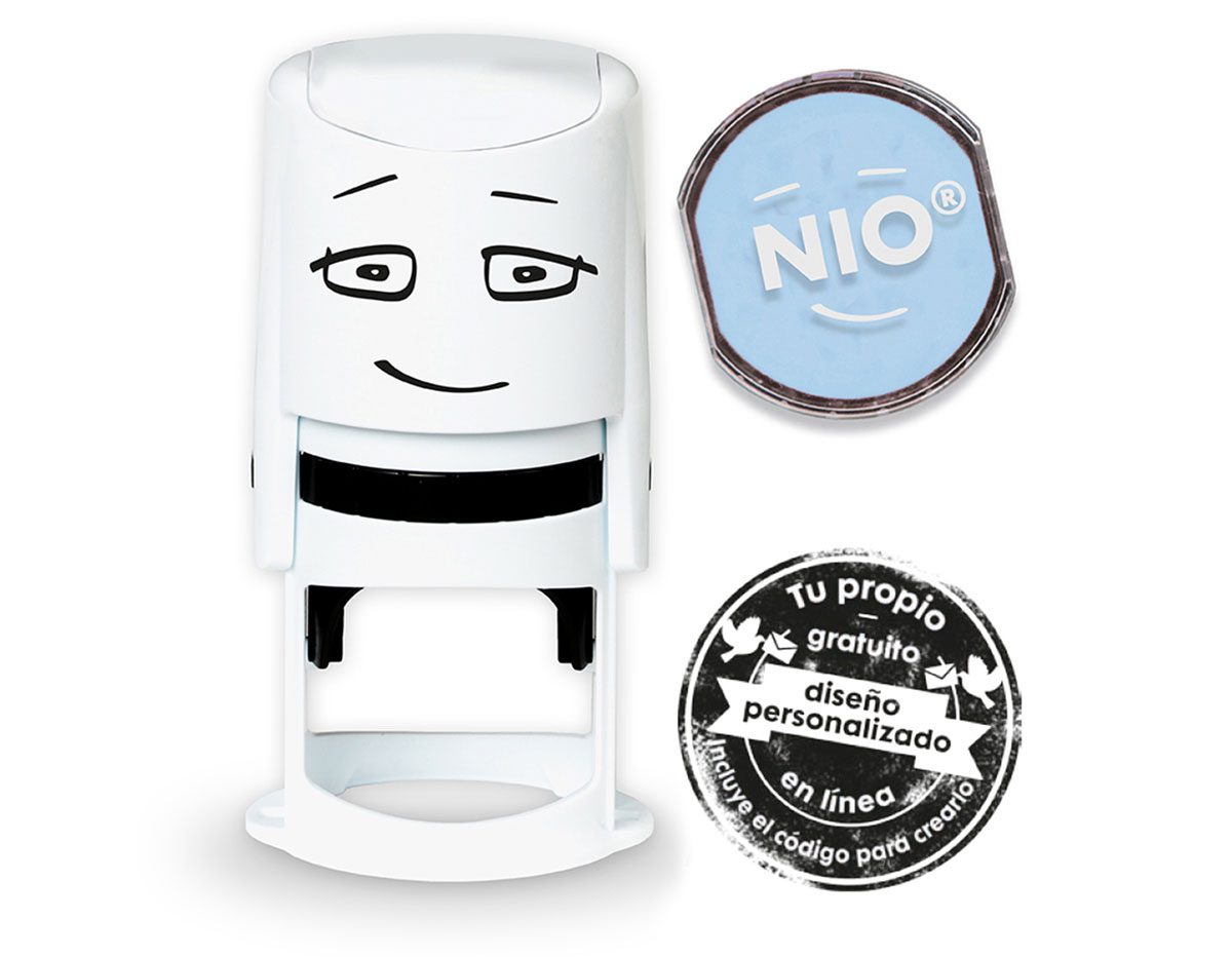 NI0002 Base de sello NIO con cupon y almohadilla de tinta color Calm Blue NIO