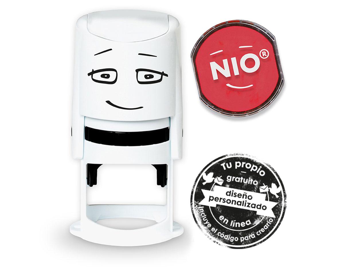 NI0004 Base de sello NIO con cupon y almohadilla de tinta color Brave Red NIO