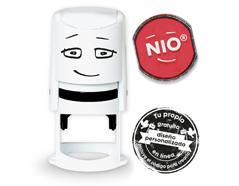 NI0004 Base de sello NIO con cupon y almohadilla de tinta color Brave Red NIO - Ítem