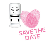 NI2008 Sello estandar para base NIO Save the date corazon huellas NIO