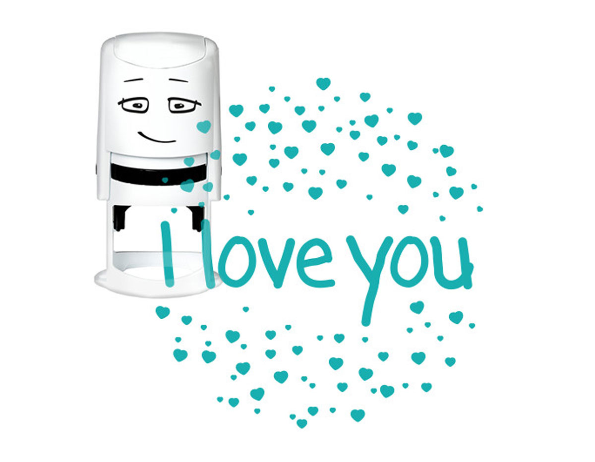 NI2015 Sello estandar para base NIO I love you corazones NIO