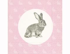 P200227 Servilletas papel Portrait of a rabbit 33x33cm 20u Paper Design
