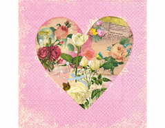 P200267 Servilletas papel Bloomy heart 33x33cm 20u Paper Design