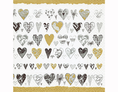 P200295 Servilletas papel Golden hearts 33x33cm 20u Paper Design