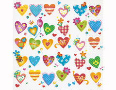 P200359 Servilletas papel Colourful hearts 33x33cm 20u Paper Design