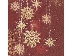 P600017 Servilletas papel Golden snowflakes Paper Design