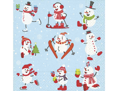 P600089 Servilletas papel Active snowmen 33x33cm 20u Paper Design