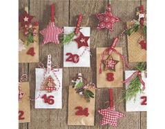 P600090 Servilletas papel Advent calendar 33x33cm 20u Paper Design