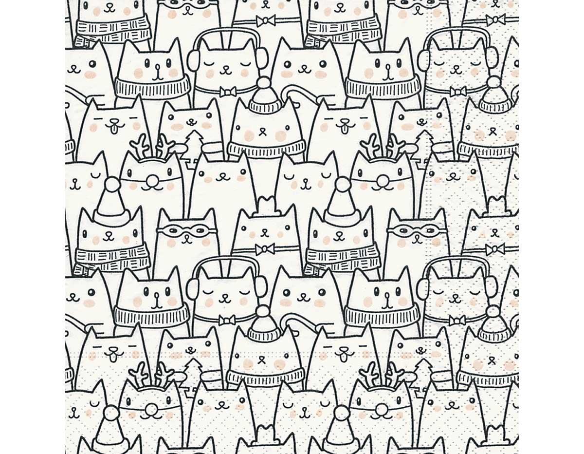 P600151 Servilletas papel Snow cats 33x33cm 20u Paper Design