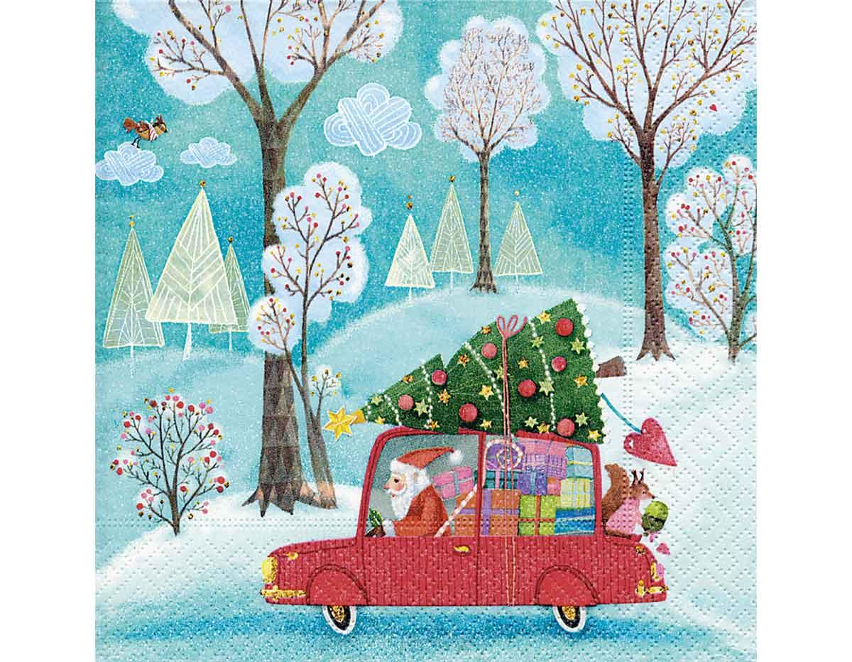 P600256 Servilletas papel Santa by car Paper Design