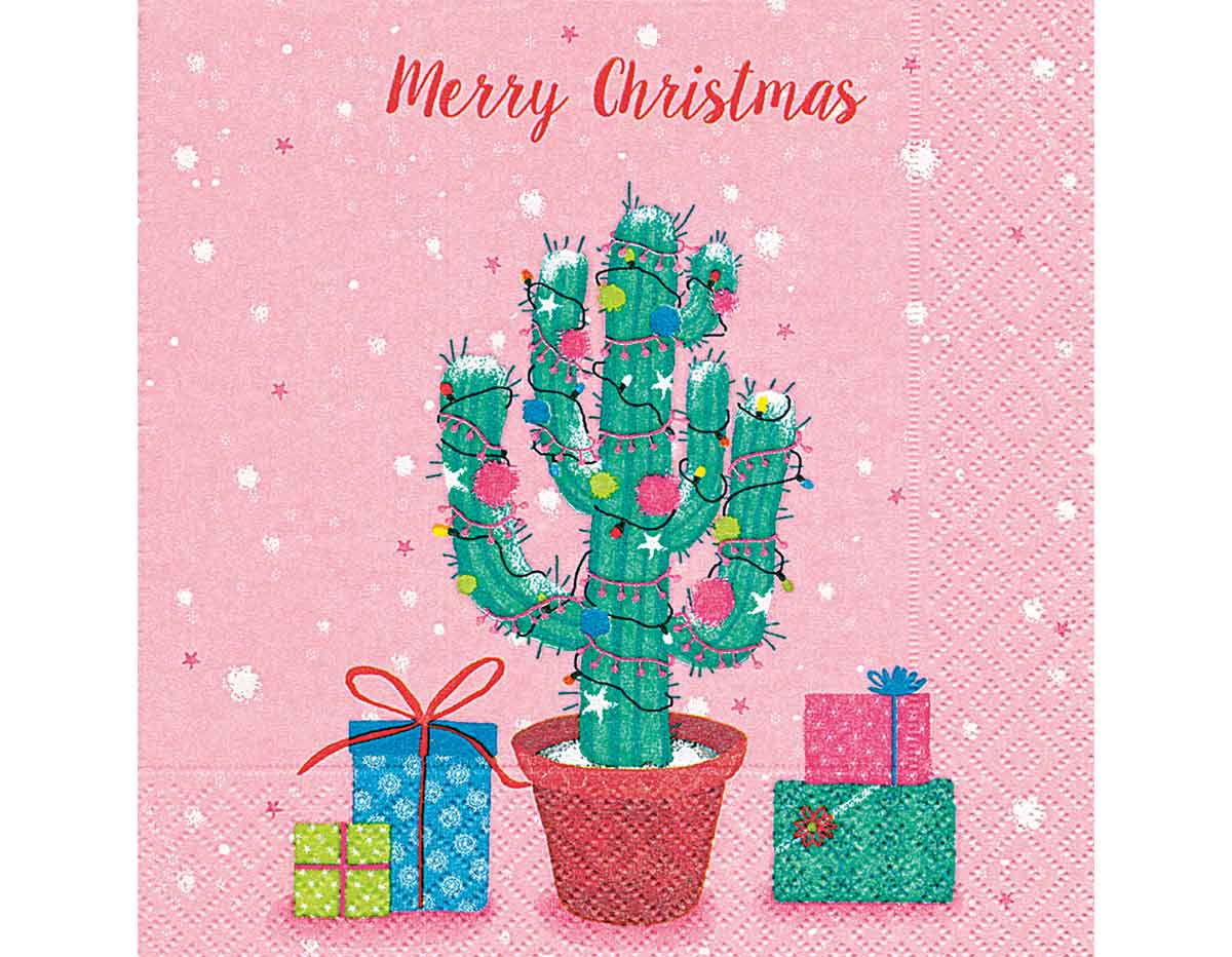 P600282 Servilletas papel Decorated cactus Paper Design