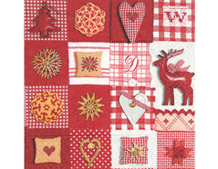 P60785 Servilletas papel patchwork red white Paper Design