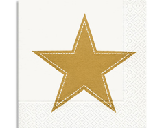 P60834 Servilletas papel simply star white gold Paper Design