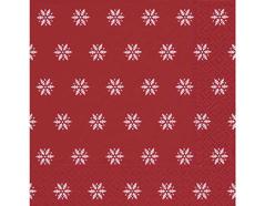 P60933 Servilletas papel Snowflakes red 33x33cm 20u Paper Design