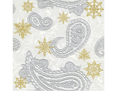 P64025 Servilletas papel Moments Paisley with stars 33x33cm 20u Invierno Blancos Paper Design