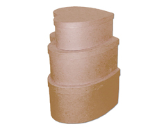 PM1053A Set de 3 cajas papel mache corazon 20 22 y 24cm Innspiro