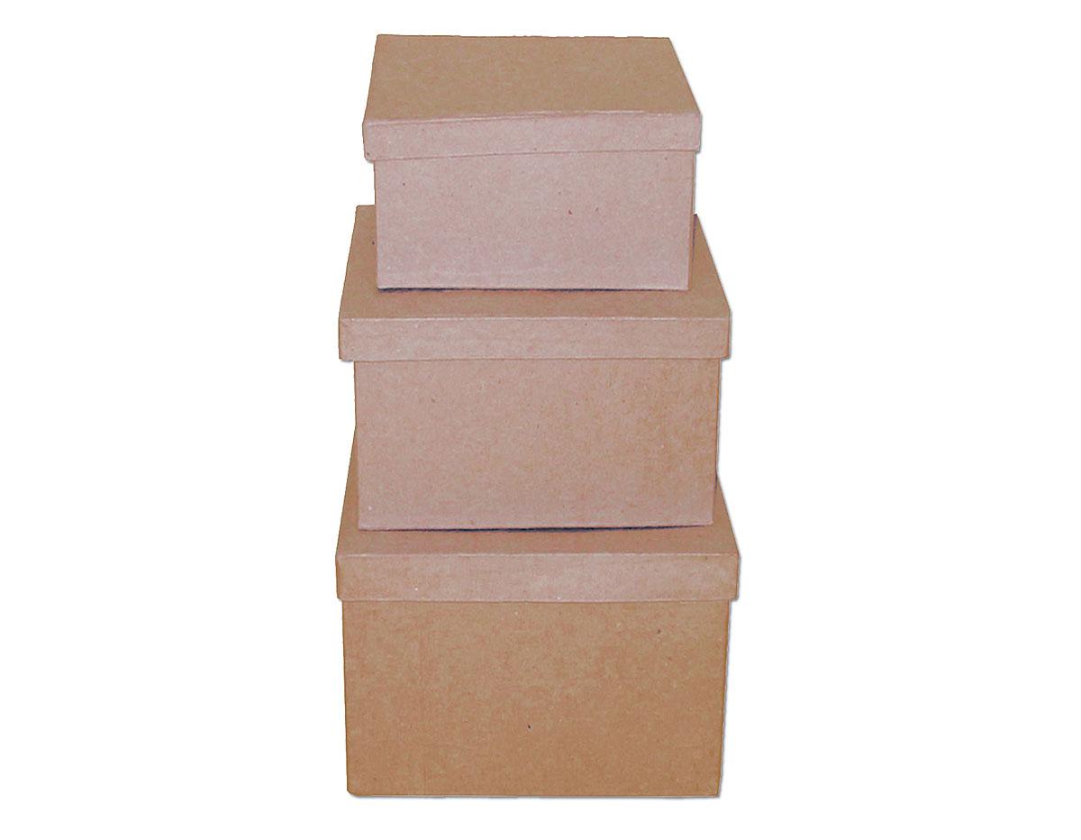 PM1053C Set de 3 cajas papel mache cuadradas 15 19 y 22cm Innspiro