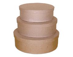 PM1053D Set de 3 cajas papel mache ovales 14 22 y 26cm Innspiro