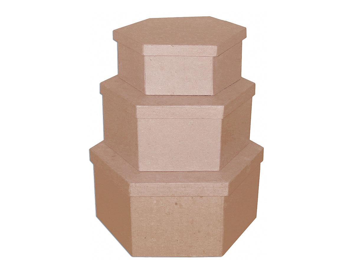 PM1053E Set de 3 cajas papel mache hexagonales 17 19 y 23cm Innspiro